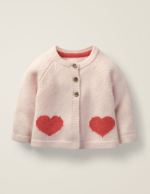 Cashmere Cardigan - Provence Dusty Pink Hearts