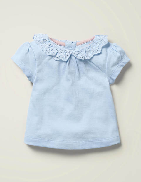 Broderie Collar T-Shirt - Provence Blue