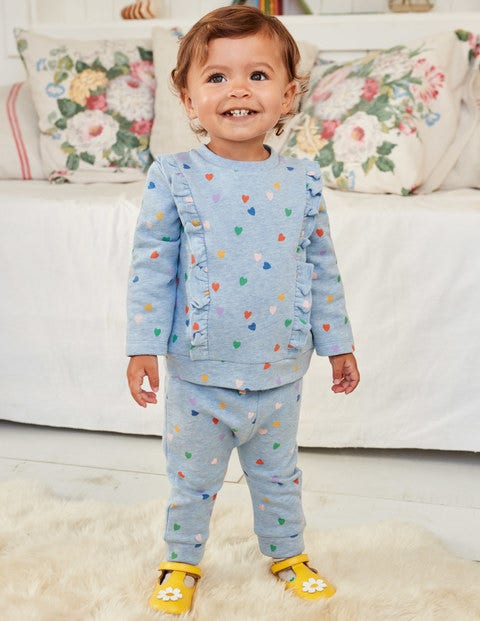 Printed Cosy Jersey Play Set - Blue Marl Scattered Heart