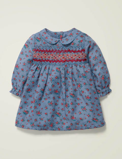 Nostalgic Smocked Dress - Chambray Vintage Rose