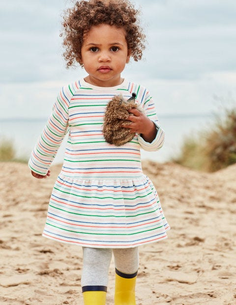 Cosy Jersey Dress - Ivory/Multi