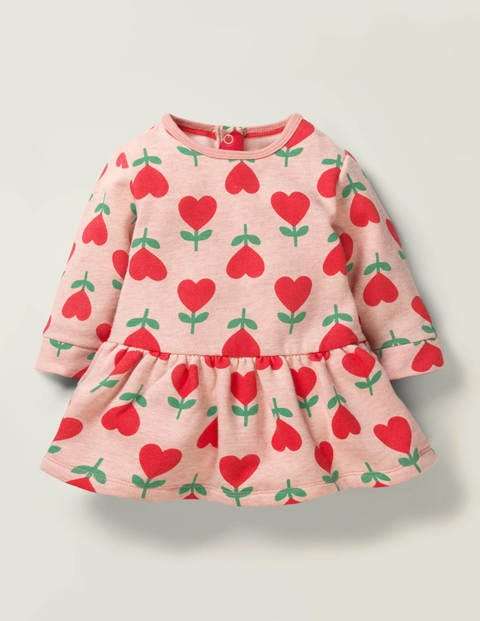 Cosy Jersey Dress - Boto Pink Heart Flower