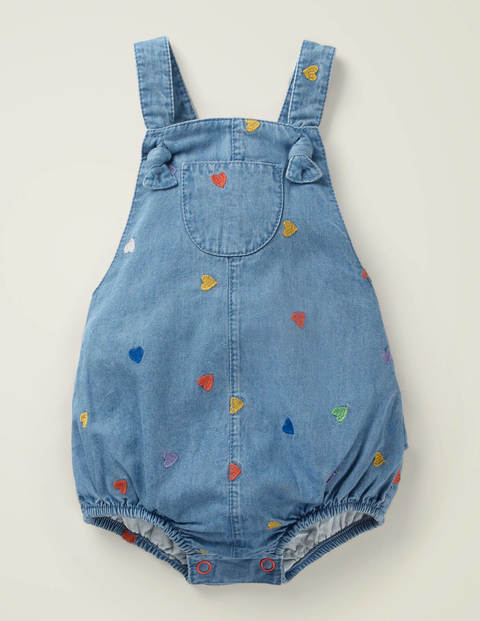 Embroidered Denim Romper - Mid Chambray