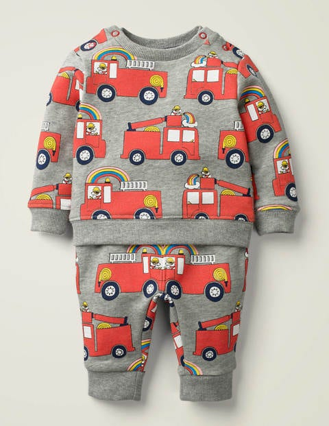 Cosy Jersey Play Set - Grey Marl Fire Engine