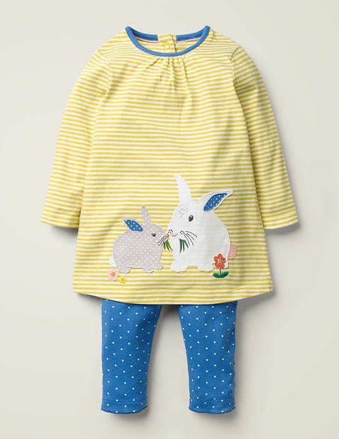 Appliqué Jersey Dress Set - Ivory/Sky Blue Bunny