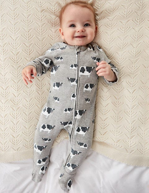 Printed Zip Sleepsuit - Grey Marl Moo