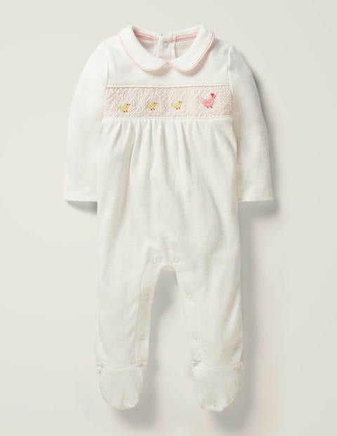 Girls Smocked Sleepsuit - Ivory Chicken