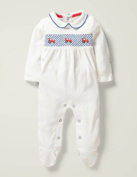 Boys Smocked Sleepsuit