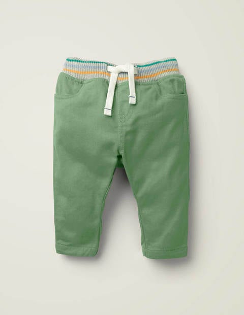 Rib-waist Pull-on Trousers - Action Green