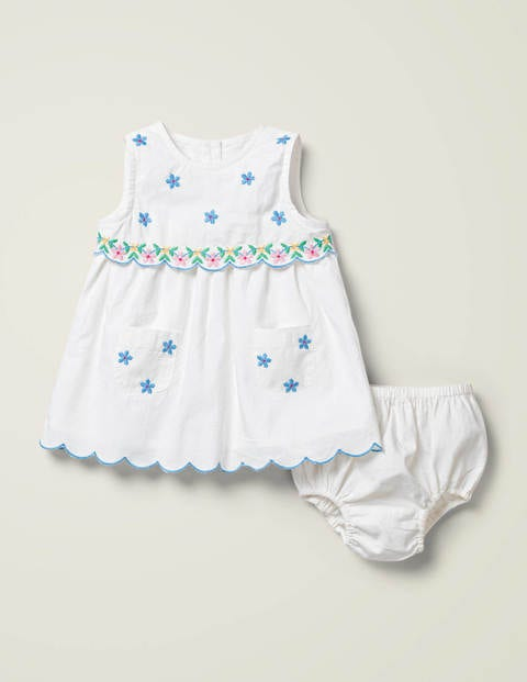Embroidered Occasion Dress - White Floral Embroidery