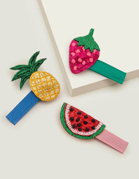 3 Pack Hair Clips - Multi Fruits