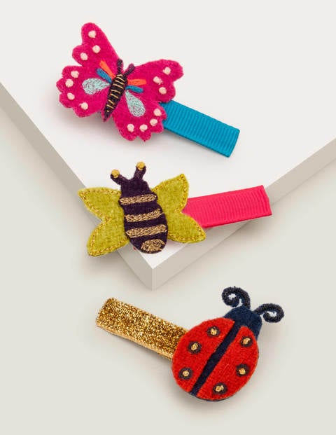 3 Pack Hair Clips - Bugs