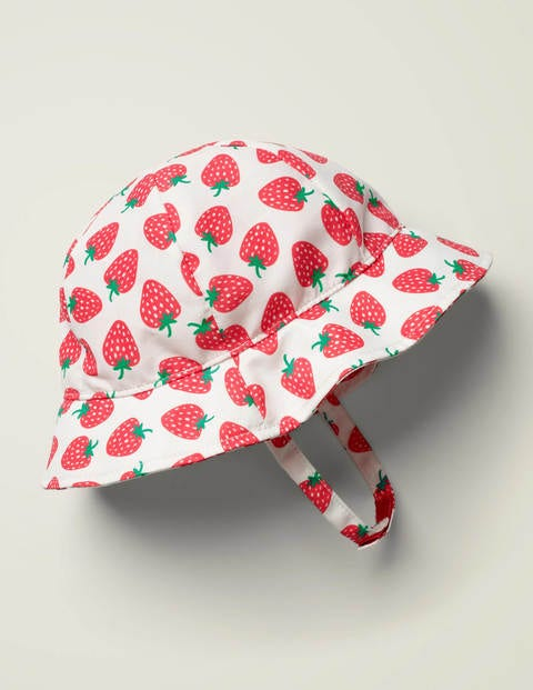 Printed Woven Hat - White/Emerald Strawberries