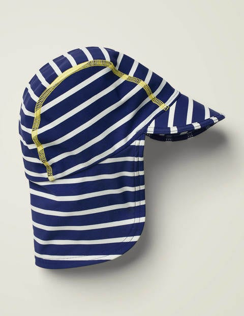 Sun-Safe Printed Swim Hat - Deep Sea Blue/Ivory