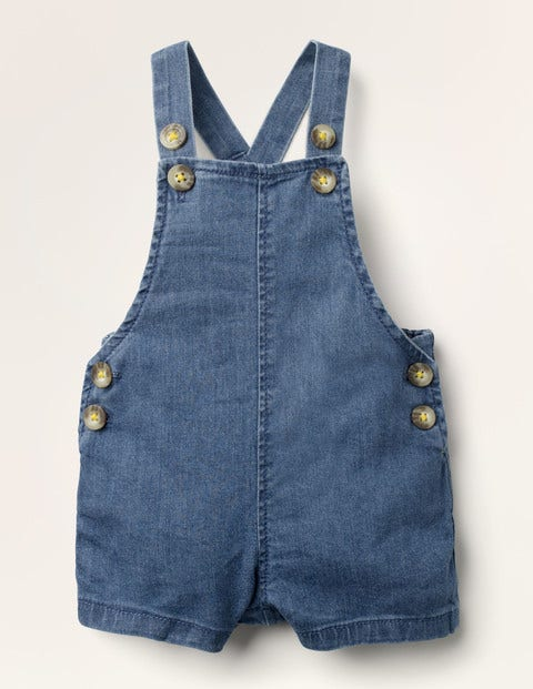 Cropped Woven Dungarees - Mid Chambray