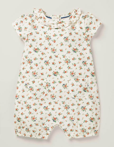 Short Ruffle Jersey Romper - Ivory Floral