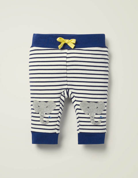 Appliqué Patch Jersey Bottoms - White/College Navy