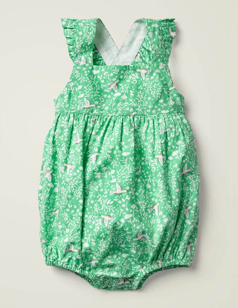 Frilly Bubble Romper - Fountain Green Bird Song