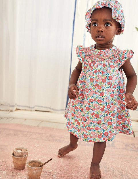 Floral Nostalgic Smocked Dress - Multi Pink Flowerbed