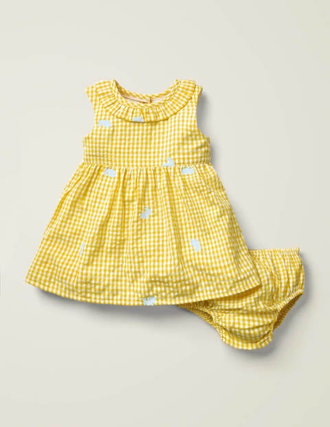 Gingham Embroidered Dress - Daffodil Yellow Bunnies