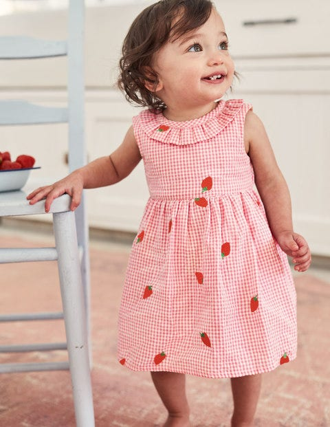 Gingham Embroidered Dress - Boto Pink Strawberries
