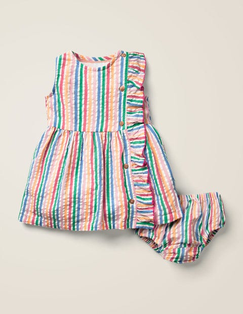 Woven Ruffle Dress - Multi Rainbow