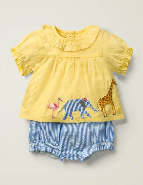 Appliqué Woven Play Set - Soft Lemon Dobby