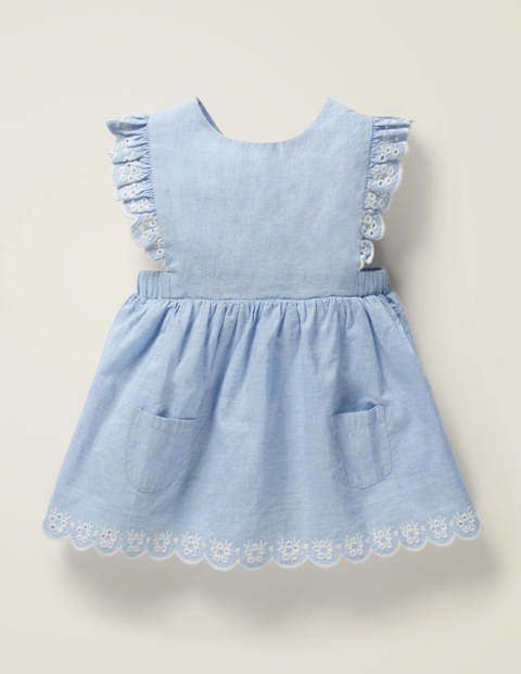 Broderie Woven Pinnie - Mid Chambray