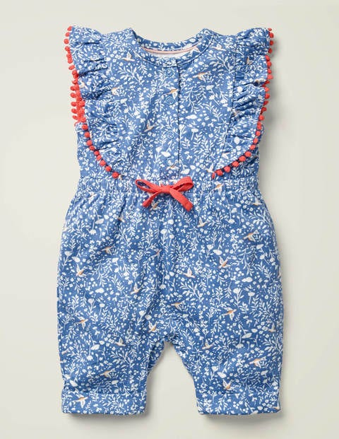 Jersey Ruffle Playsuit - Seascape Blue Birdsong