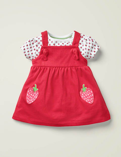 Strawberry Jersey Pinnie Set - Peach Melba Strawberries
