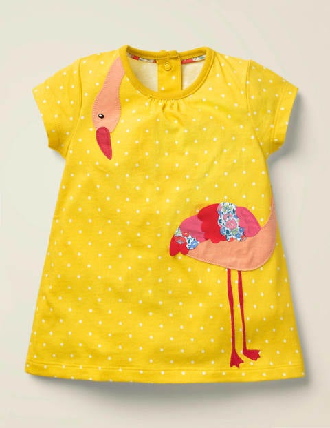 Big Appliqué Jersey Dress - Daffodil Yellow Spot