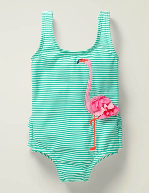 Ruffle Appliqué Swimsuit - Light Green/Ivory