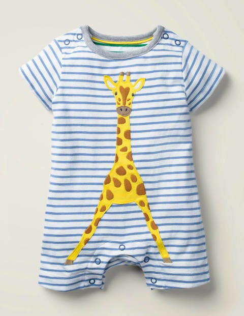 Animal Jersey Romper - White/Seascape Giraffe