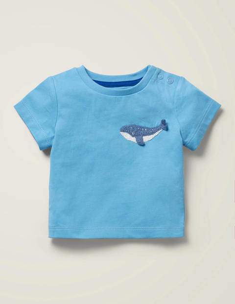 T-shirt à motif animal en crochet - Baleine bleu surf