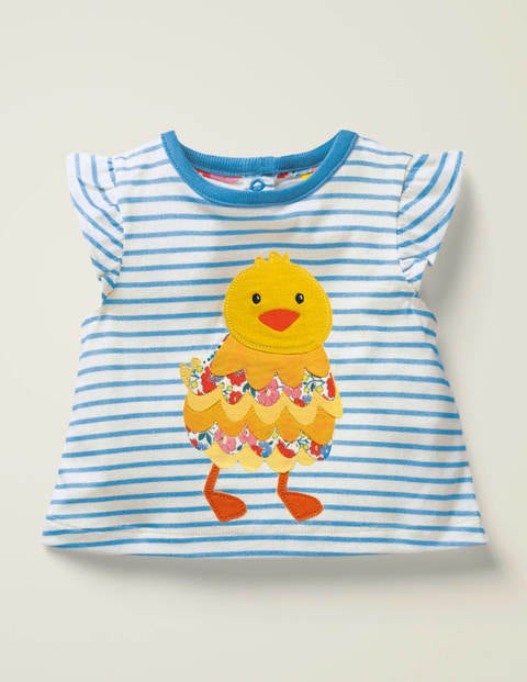Pretty Appliqué T-Shirt - Light Celeste Blue Chick