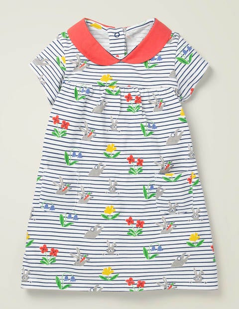 Printed Jersey Collared Dress - Multi Bunny Stripe