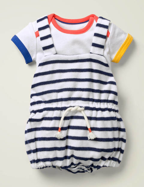 Towelling Romper and Body Set - White/Starboard Blue