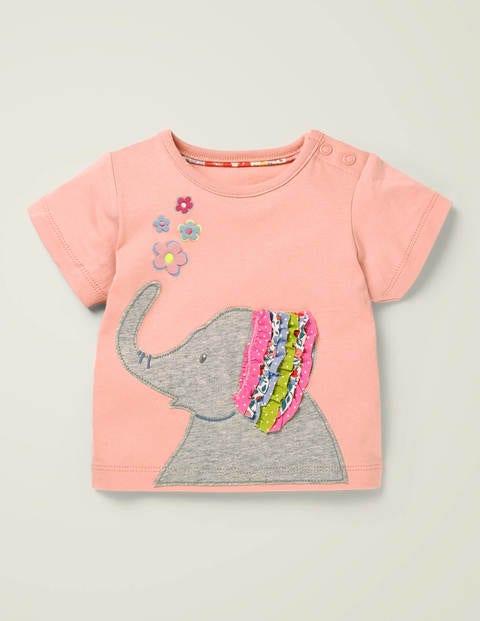 T-shirt volanté à appliqué - Éléphant rose boto