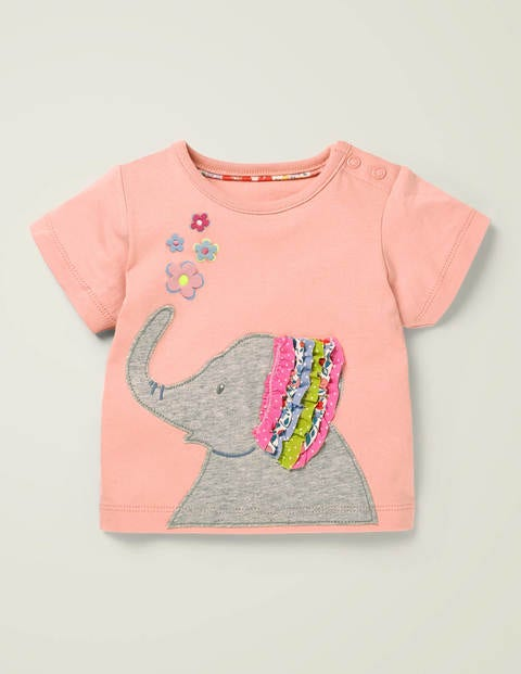 Appliqué Frill T-shirt - Boto Pink Elephant
