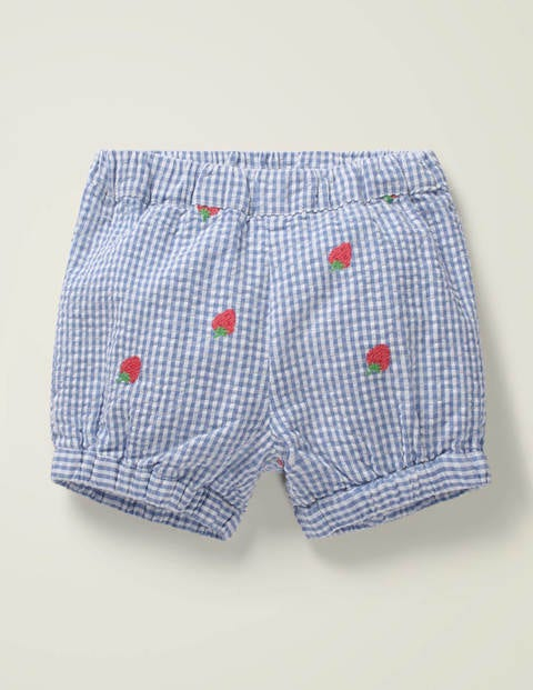 Embroidered Woven Bloomers - Seascape Blue Gingham