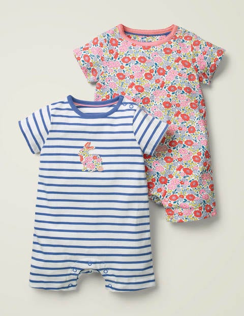 Twin Pack Jersey Rompers - Multi Pink Flowerbed