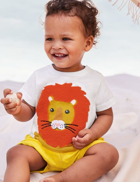 Bouclé Logo T-Shirt - White Lion