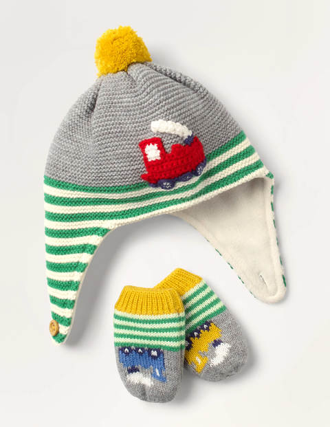 Baby Train Hat & Mittens Set
