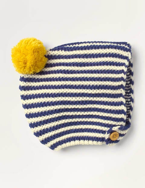 Knitted Bonnet - Ivory/Starboard Blue