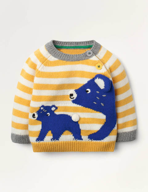Big Bear and Cub Sweater - Honeycomb Yellow Bear