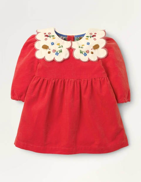 Embroidered Collar Cord Dress - Cherry Tomato Red