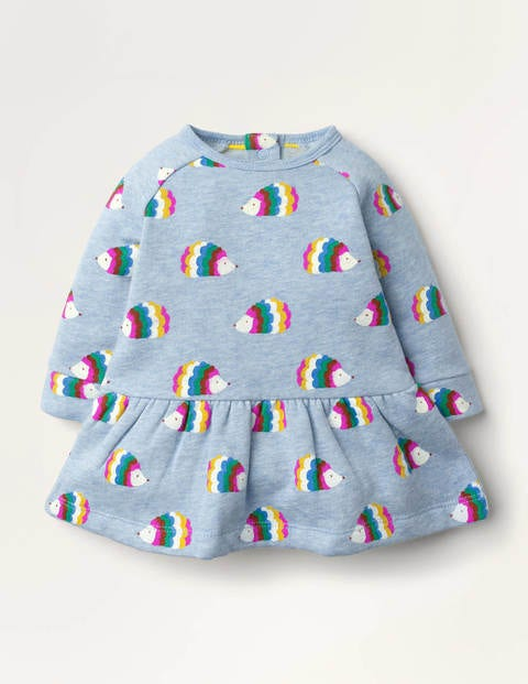 Cosy Printed Sweatshirt Dress - Blue Marl Hedgehogs