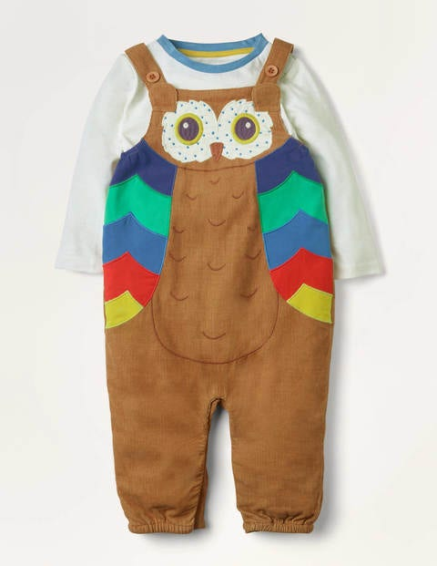 Owl Cord Dungaree Set