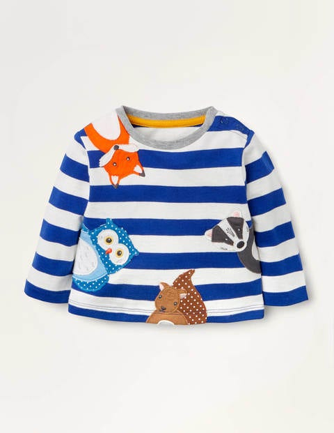 Stripy Appliqué T-shirt - Ivory/Greek Blue Animals