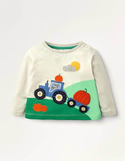 Bouclé Appliqué T-shirt - Ivory Tractor Scene